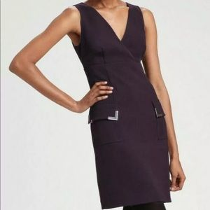 Michael Kors Purple Crepe Front Pocket Shift Dress